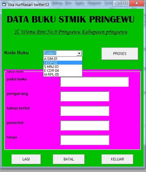 TUGAS VB-4/DATA BUKU STMIK PRINGSEWU 2